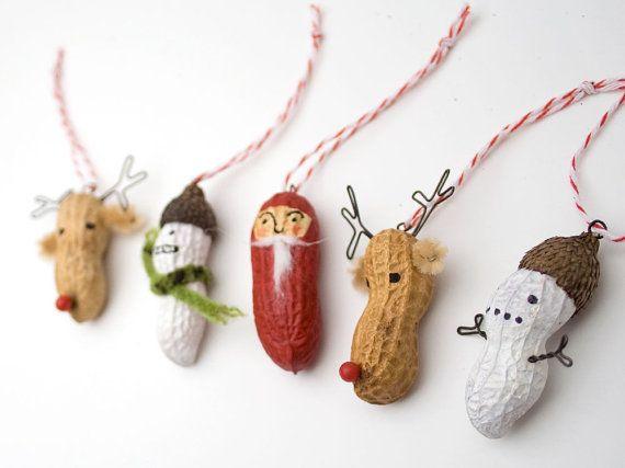 Painted peanuts Christmas Santa ornaments.