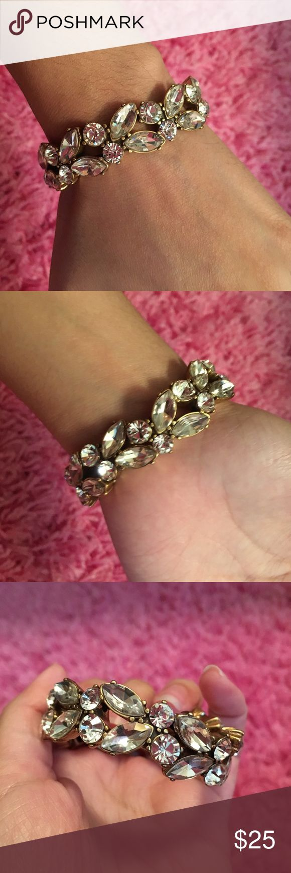 J.Crew Gold Rhinestone Earrings and Bracelet Comes with earrings and the bracelet together. Don't want to sell separately. Price is firm. No trades. J. Crew Jewelry