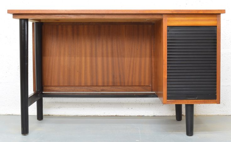 Mid Century Teak Desk with Black Tambour Door 1980's