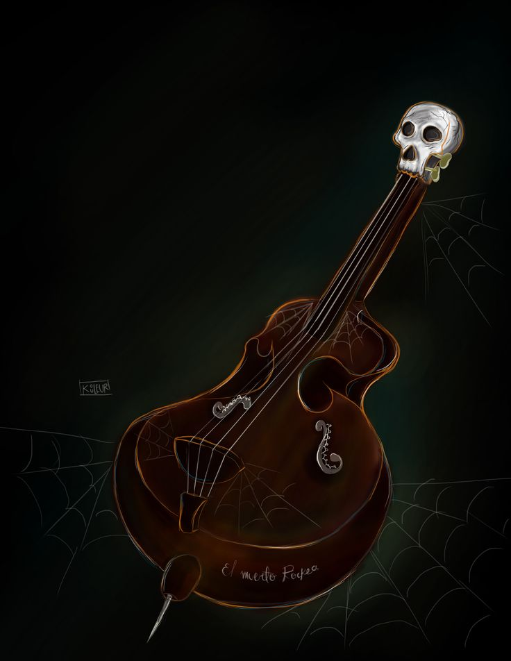 """""""El muerto Rockea"""" #illustration #digital #doublebass #salidosdelacripta #Psychobilly #Rockabilly #Billy #skull #lights #KOULEUR"""