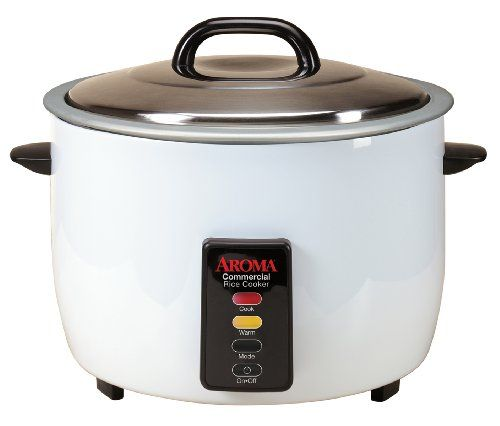 Save time and energy with this 48-cup commercial rice cooker from Aroma. Just add water, push a button and walk away! It automatically senses when rice is finished and switches to keep warm mode, leaving you free to work in the kitchen. The heavy duty lid and nonstick cooking pot are designed for continuous