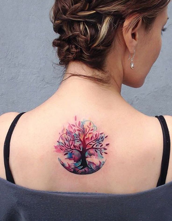 Unique and Cool Tree of Life - Family Tree - Watercolor Back Tattoo Ideas for Women at MyBodiArt.com