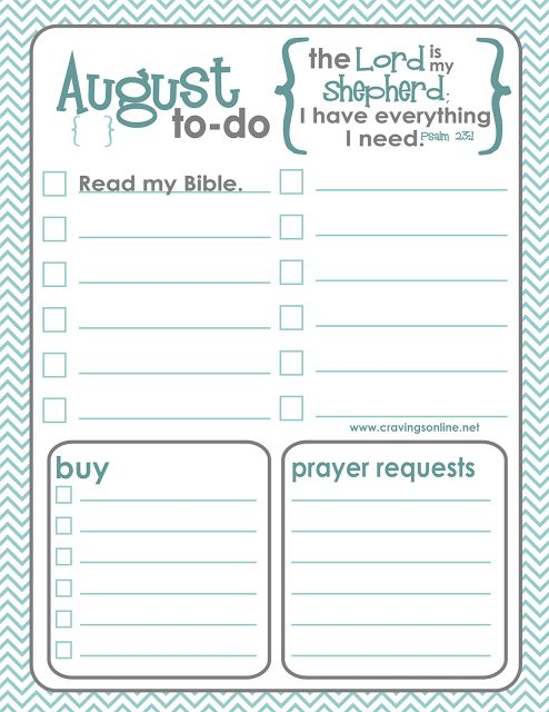 August Printable To-Do List - Cravings
