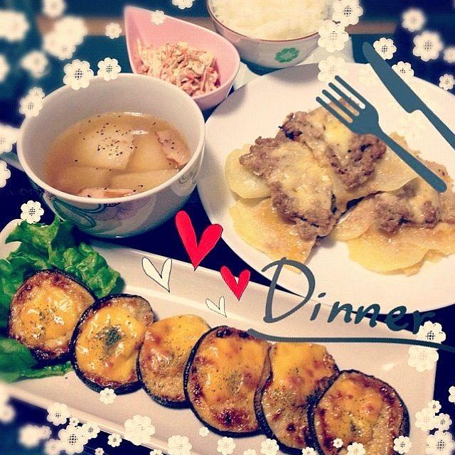 全部おいしかた大成功 - 27件のもぐもぐ - じゃがいものラザニア風重ね焼き、しいたけのガーリック味噌マヨチーズ焼き、ごぼうサラダ、とろとろカブとベーコンのスープ by Maricoskitchen