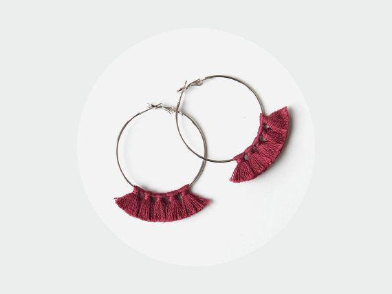 Hoop earrings - Tassel earrings - Burgundy earrings - Bohemian earrings