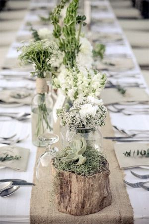 rustic woodland themed wedding table with green accents - brides of adelaide