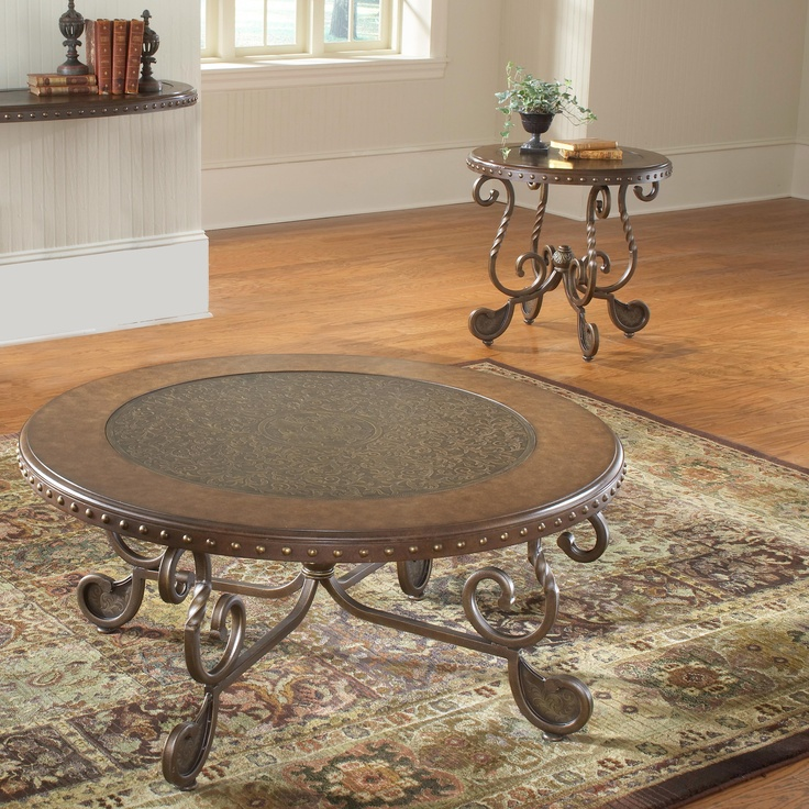 Bernards Metal Etched Round Coffee Table Set With Nailheads