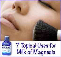 Topical and Cosmetic Uses for Milk of Magnesia 1) deodorant 2) make up primer 3) treat acne 4) treat dandruff 5) ease sunburn 6) treat rashes