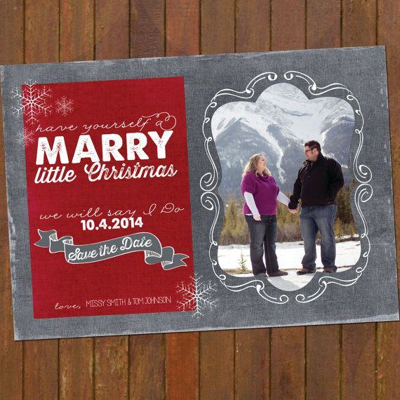 Items similar to save the date christmas card, marry little christmas, chevron, PRINTABLE on Etsy