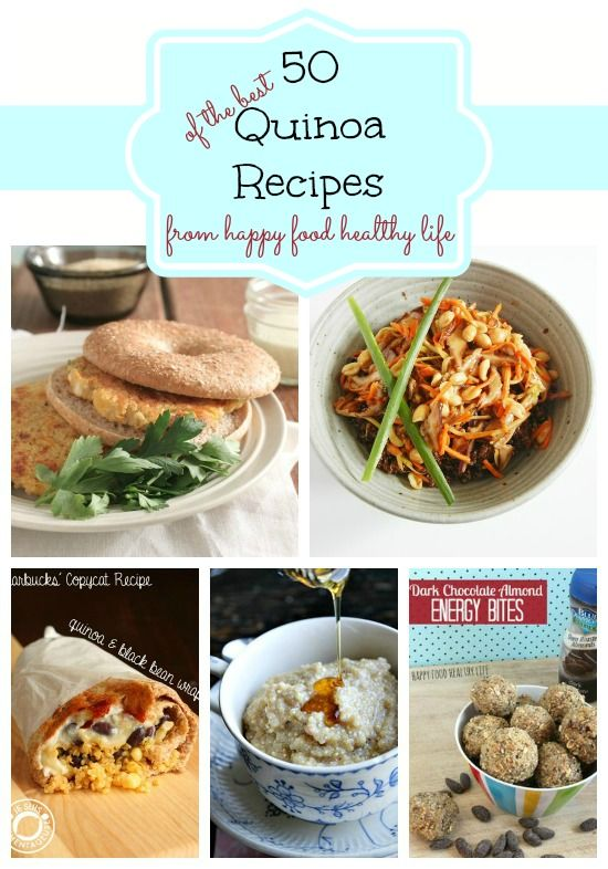 A Roundup of 50 of the Best Quinoa Recipes compiled by www.happyfoodhealthylife.com