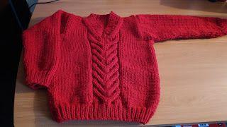Curso de tejido a mano: Pullover escote V para niño.