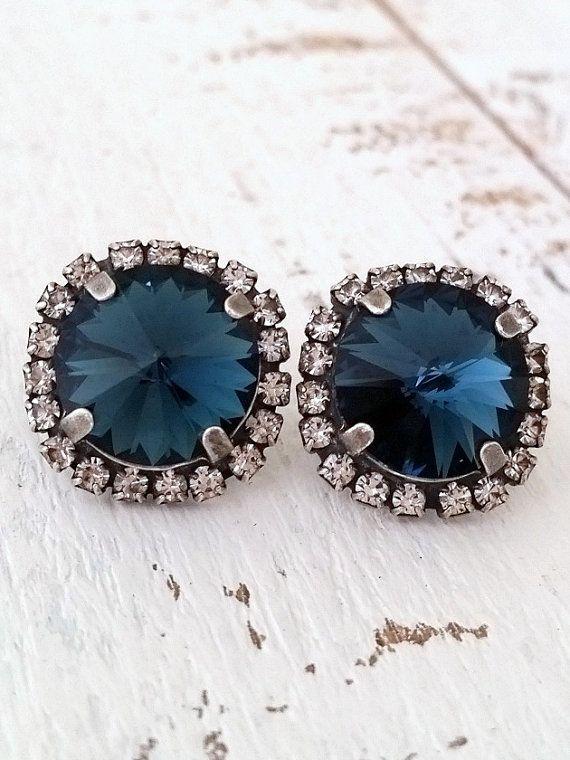 Navy Blue earrings | Oxidized silver stud earrings by EldorTinaJewelry on Etsy | http://etsy.me/1ILyUpU