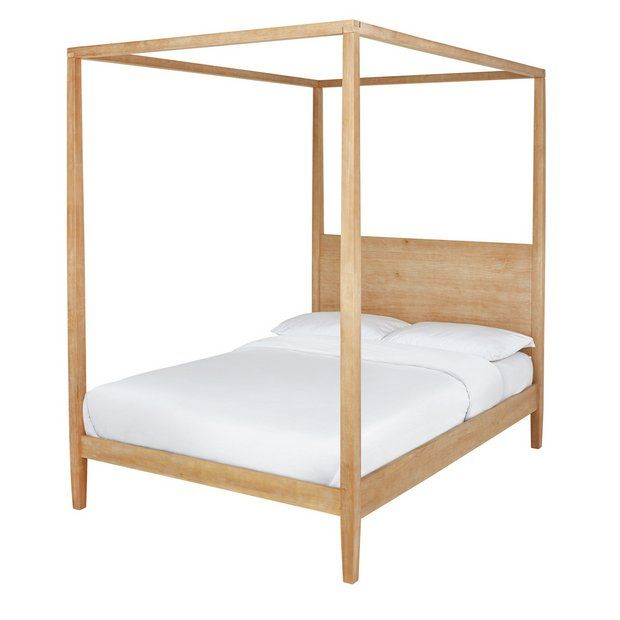 Buy Argos Home Blissford Four Poster Double Bed Frame Pine Bed Frames Argos In 2020 Pine Bed Frame Pine Beds Argos Home