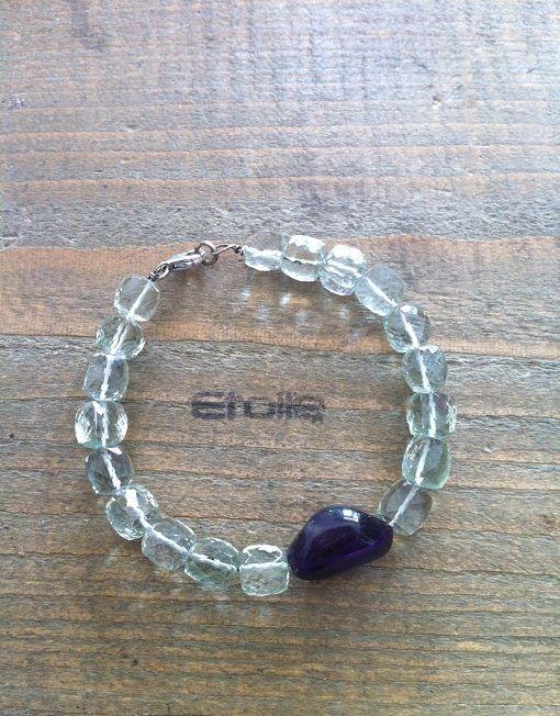Bracciale in argento con ametiste verdi e viola solo su etoilegioielli.com!