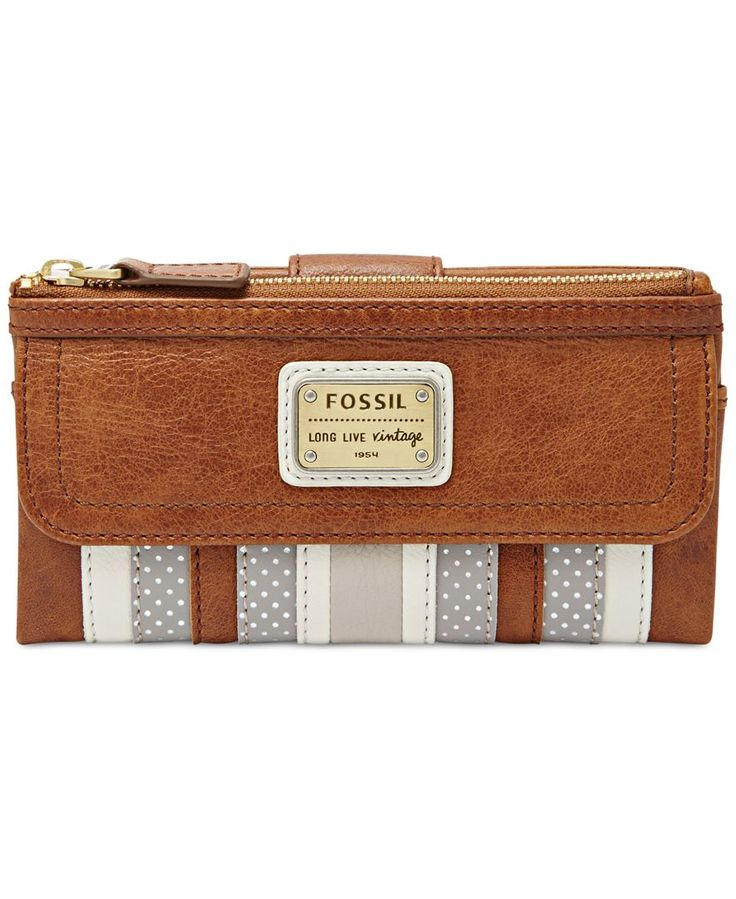 Fossil has boho style all stitched up with this patchwork multifunction wallet that houses cards, coins and cash in soft, supple leather with a great hand feel. | Leather; lining: polyester | Imported