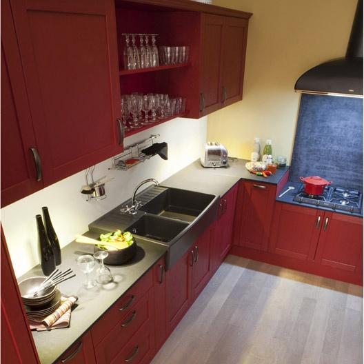Cuisine rouge rubis pr l vement d - Modele cuisine leroy merlin ...