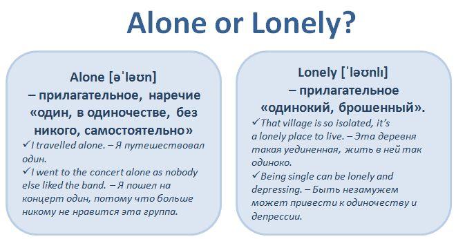 Слова, связанные с одиночеством, - alone и lonely, - нередкий источник ошибок для русскоязычных пользователей. Давайте  разберемся, как правильно использовать эти слова.