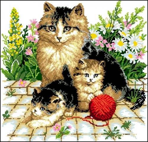 Канва с рисунком Гелиос Ф-065 Кошки