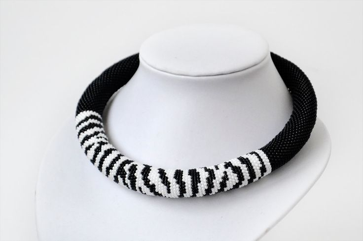 Zebra Beaded Crocheted Necklace White Black Statement Necklace Seed Bead Necklace Bead Rope Gift animal print - pinned by pin4etsy.com