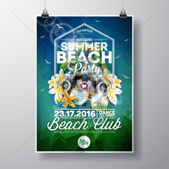 Vector Summer Beach Party Flyer Design with typographic and music elements on abstract background - Royalty Free Vector Illustration
