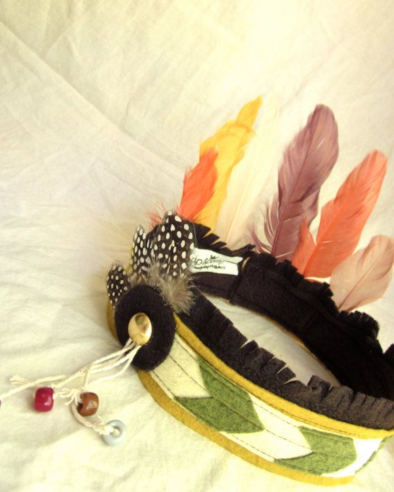 Indian Princess Headdress // Stretch to fit // for 3 & up by rompandpomp, a US-based Etsy shop. Very cute.