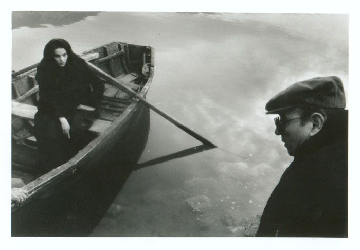 Theo Angelopoulos with Maya Morgenstern during the shooting of the film ''Ulysses' Gaze''