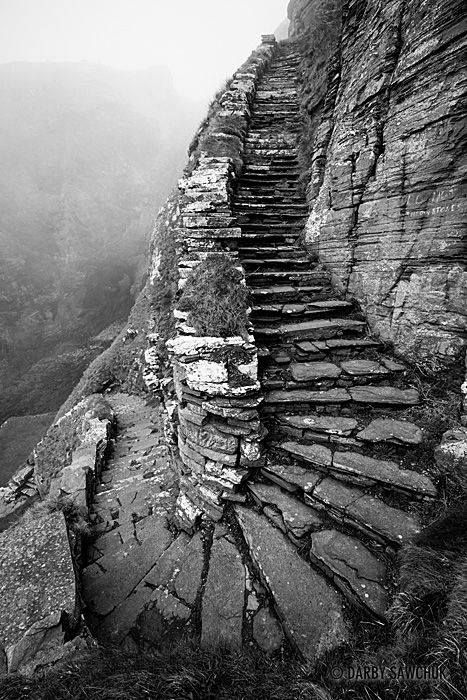 The Whaligoe Steps lead down the cliffs of the north coast of Scotland to a small harbour that was formerly used for Herring fishing.