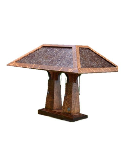 Mission Craftsman Arts and Crafts style table lamp. Double pedestal lamp makes an excellent desk lamp. Mica lamp shade, quarter sawn oak base, pull chains