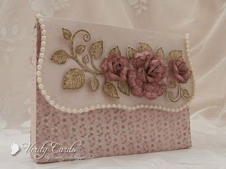 Clutch bag envelope box using Heartfelt Creations Dies and papers