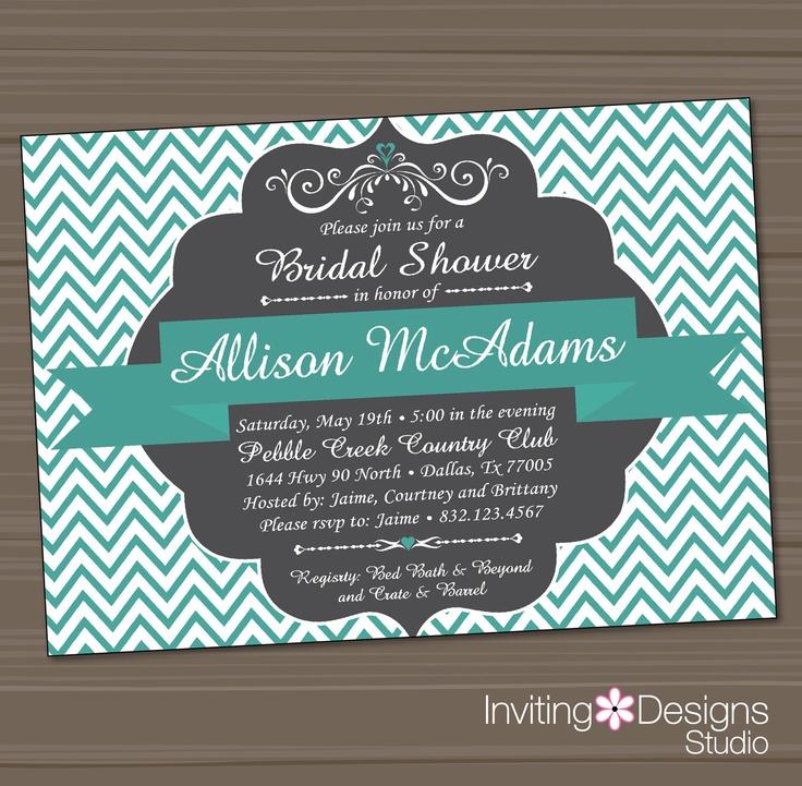 bed bath and beyond wedding invitation kits%0A Printable Bridal Shower Invitation  Wedding Shower Invitation  Aqua  Teal   Gray  Customize