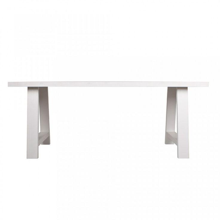 Masa dining din lemn masiv alb 230 cm Framed Zuiver