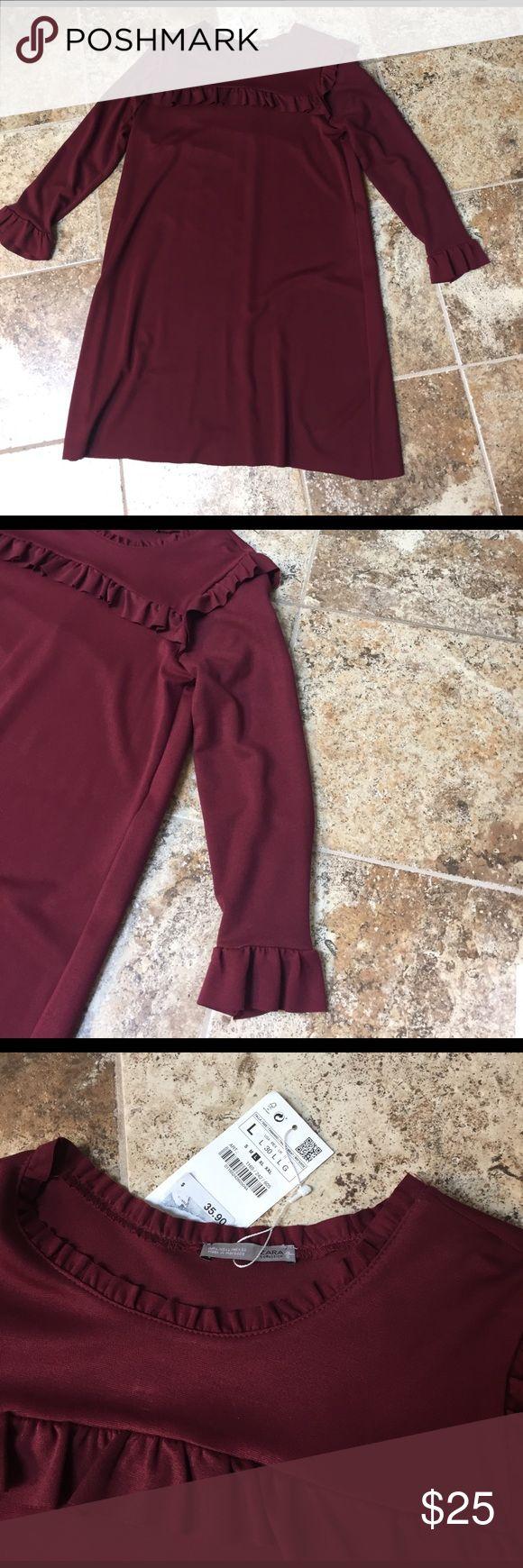 Zara Dress NWT Zara burgundy dress with ruffle detailing around the neck and sleeves. Zara Dresses
