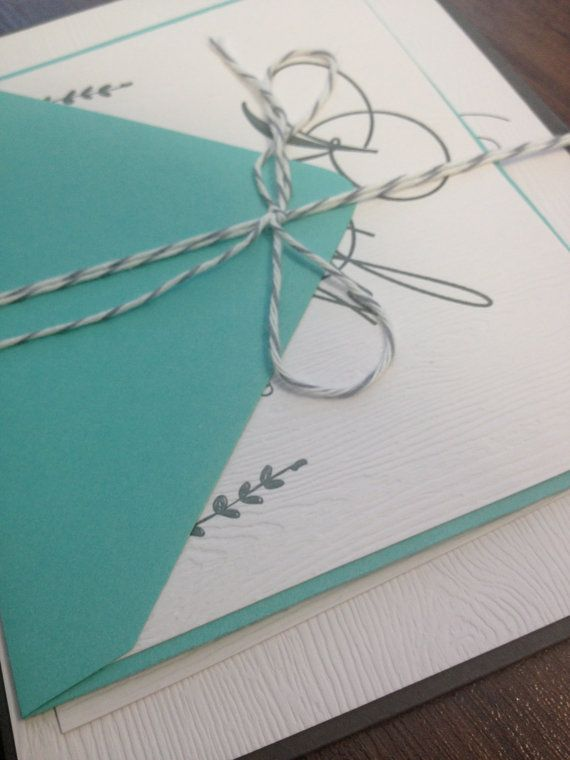 Rustic Calligraphy Letterpress Wedding Invitation On Woodgrain Paper Wrapped In Twine With Mint and Gray Envelopes by RichGirlCollections, Sample $8.50