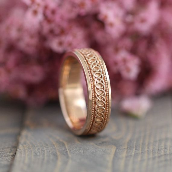 Celtic Knot Wedding Band in 14k Rose Gold 6mm by LaMoreDesign