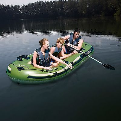 Inflatable 3 Person Row Boat Aluminum Oars Built In Fishing Rod Holders