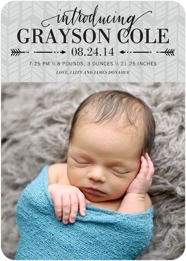 Arrowed Intro: Boy - Boy Photo Birth Announcements in Fog or Lightest Turquoise | Elm and Gray