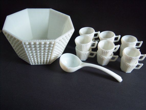 Fenton Hobnail Milk Glass Punch Bowl Set by RetropolitanHolmes