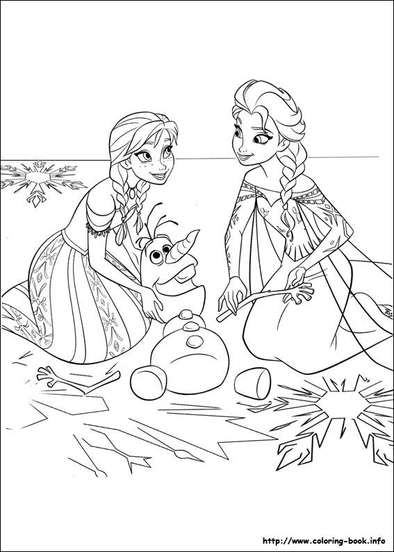 Disney Coloring Page:  NORWAY - Anna, Elsa, and snowman