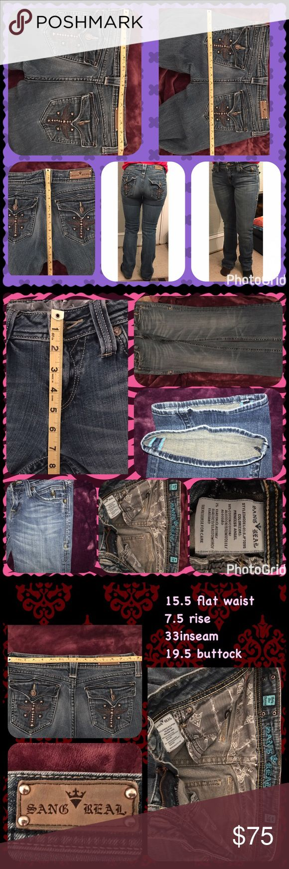 """Sang Real by ~Miss Me~ Gently worn, medium wash,  jeans in almost new condition. No stains, no tears, no fraying, no missing hardware/buttons. Seams are tight and intact. Appropriate fade pattern. Jeans ~appear new. Very lightly """"distressed at cuff bottom"""". Sang Real is NO Longer Being Made!! Fits like Miss me or Rocks. A little higher on the back waist than Miss Me. (Covers the butt better) Sang Real by Miss Me Jeans Boot Cut"""