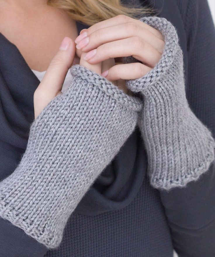 """REALLY EASY WRISTERS If you can do a gauge swatch, you can make these wristers! You just knit a square piece with a bit of ribbing then sew up the side leaving a hole for your thumb. Voila!  RED HEART® """"Soft Yarn"""": 1 ball 9440 Light Grey Heather.    Knitting Needles: 5mm [US 8].  Yarn needle  Each wrist warmer measures 7"""" long x 7"""" circumference.  GAUGE: 18 sts = 4"""" in St st. CHECK YOUR GAUGE. Use any size needles to obtain the gauge."""