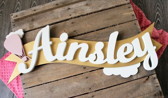 Float Away Custom Wooden Name Sign, Hot Air Balloon Wall Art, Metallic Gold Baby Name Letters, Wooden Letters, Modern, Baby Girl, Name Decal