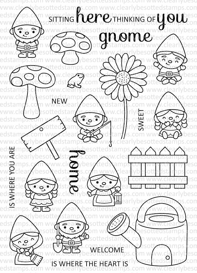 Clearly Besotted GARDEN GNOMES Clear Stamp Set zoom image