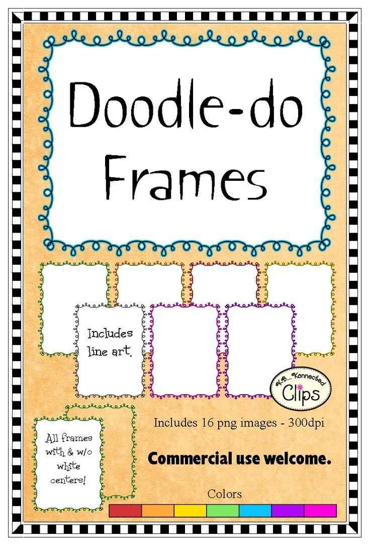 Doodle-do Frames $1: Doodles Do Frames, Color, Clip Art, Doodles Frames, Doodle Do Frames, Doodledo Frames, Clipart Collection, Tpt Clipart, Line Art