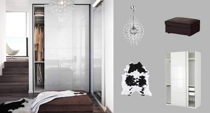 PAX white wardrobe with FÄRVIK white glass sliding doors >> http://www.ikea.com/us/en/catalog/categories/departments/bedroom/choice/#S2