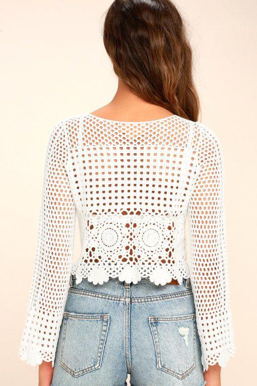 2be94cf392a Crystal Grid White Crochet Long Sleeve Crop Top | TEJIDOS Y BORDADOS ...