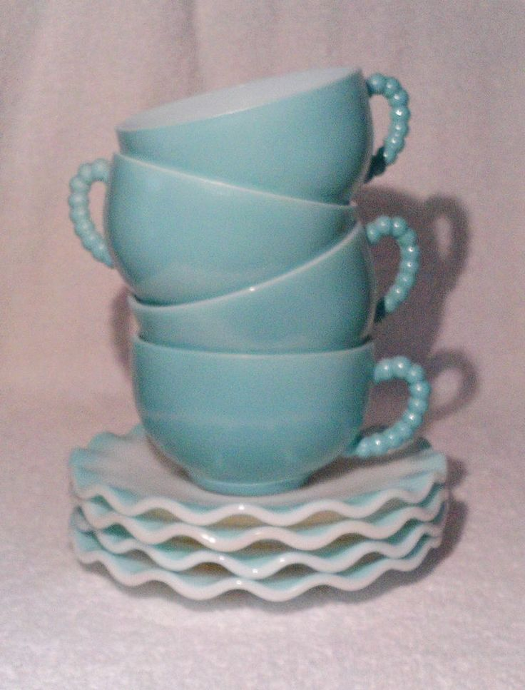 Hazel Atlas Turquoise Crinoline Milk Glass 4 Cups 4 Saucers Beaded Handle **Sold, but another set listed!
