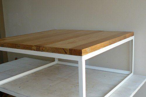 Mesa baja de madera maciza paraiso y hierro mesa ratona - Mesas de centro madera y hierro ...