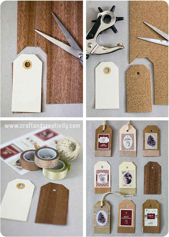 Wood veneer and cork tags - by Craft & Creativity
