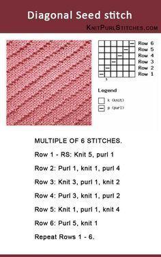 Como tricotar o ponto de semente de Digonal. Padrão inclui instruções escritas e c ...