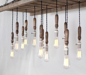 Wood pallet chandelier Typewriter Boneyard I don't like the lights but like
